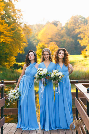 Bridesmaids in park on the wedding day Stock Photo