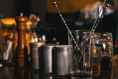 silver bars: Bartender tools on bar at the night club Stock Photo
