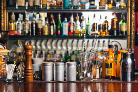 bartending: Bartender tools on bar at the night club Stock Photo