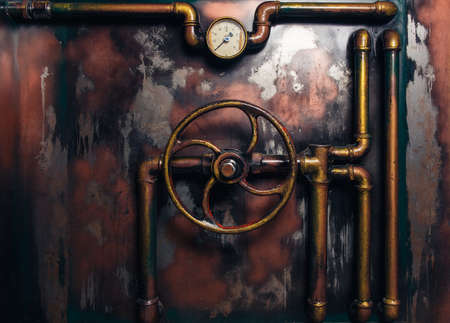 background vintage steampunk from steam pipes and pressure gauge Reklamní fotografie - 65268686