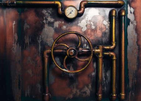 Fond steampunk vintage des conduites de vapeur et manomètre Banque d'images - 65268686