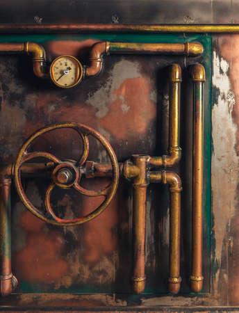 Sfondo Steampunk annata da tubi di vapore e manometro Archivio Fotografico - 68694023