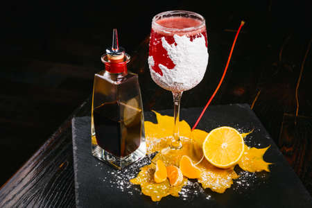 snifter: Winter sleep cocktail is based on cranberry juice, raspberry honey, lemon juice and Angostura bitters