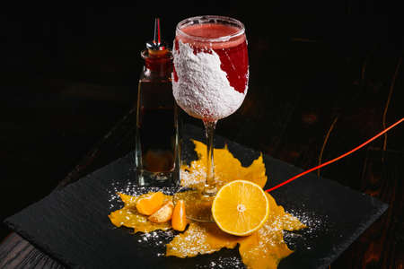 cranberry juice: Winter sleep cocktail is based on cranberry juice, raspberry honey, lemon juice and Angostura bitters