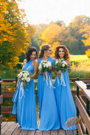 Bridesmaids in park