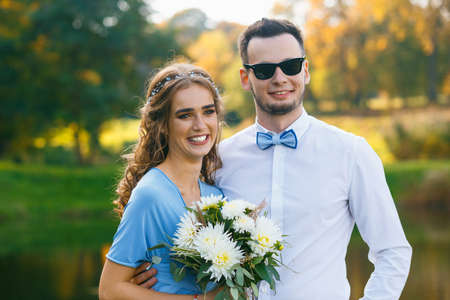 Beautiful young couple on wedding ceremony makes selfie Stock Photo