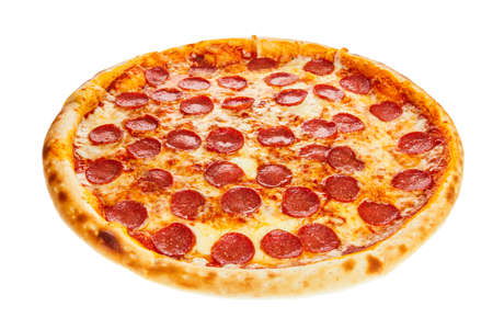 Delicious classic italian Pizza Pepperoni with sausages and cheese mozzarella