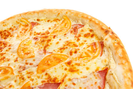 Fragment of delicious classic italian Pizza with ham, tomatoes and cheese isolated on white background