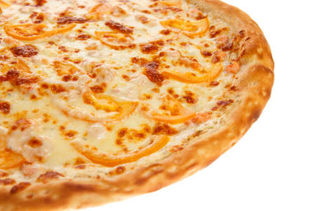 Part of delicious classic italian Pizza with Garlic sauce, shrimp and cheese