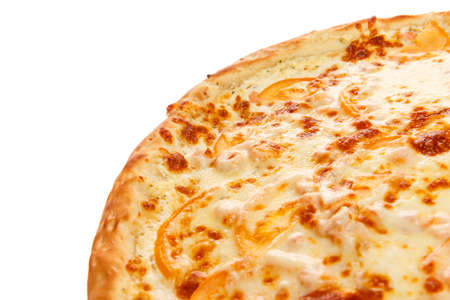 Part of delicious classic italian Pizza with Garlic sauce, shrimp and cheese isolated on white background Stock Photo