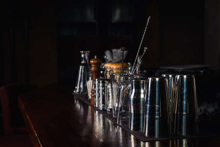 Bartender tools on bar at the night club Stock Photo