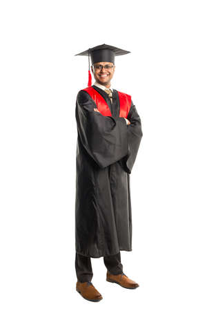 Male african american graduate in gown and cap isolated over white background Stock Photo