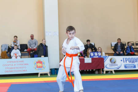 GRODNO, BELARUS - APRIL 22, 2017: Kata championship in the championship among juniors of the Grodno region Kyokushin karate