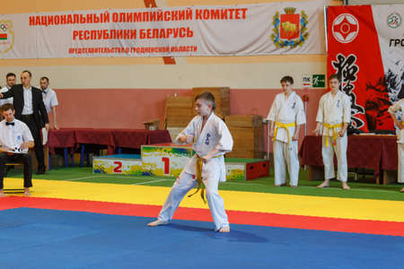 GRODNO, BELARUS - APRIL 22, 2017: Kata championship in the championship among juniors of the Grodno region Kyokushin karate