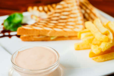 Sandwiches with tuna and salad served with fries and garlic sauce
