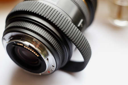 SLR photography lens with stretched over time, rubber ring