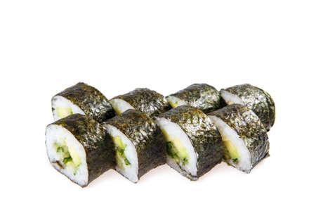 Set of Vegetarian sushi rolls isolated on white background. Stock Photo
