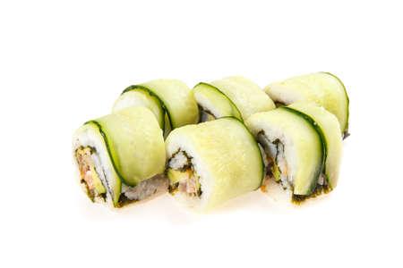 japanese sake: Set of Habomai-rolls with tuna, shrimp, avocado, ginger sauce, cucumber, nori isolated on white background Foto de archivo