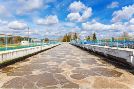 Sewage treatment plant. Waste water treatment plant. Aeration tank.