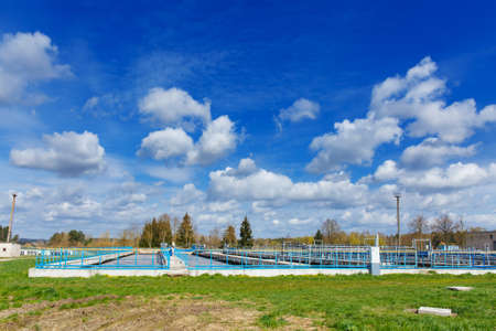 Sewage treatment plant. Waste water treatment plant. Aeration tank.
