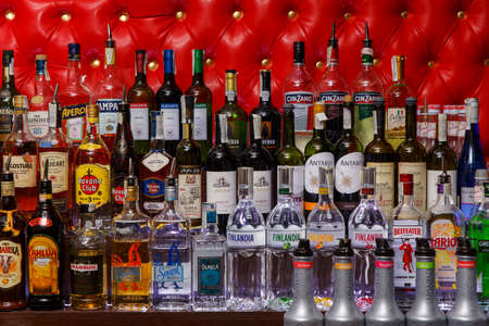 intoxicate: Grodno, Belarus - May 06, 2017: Alcohol bottles on a bar in the London bar Editorial