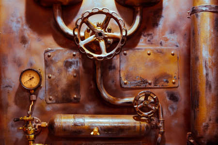 background vintage steampunk from steam pipes and pressure gauge toned in blue Stock Photo