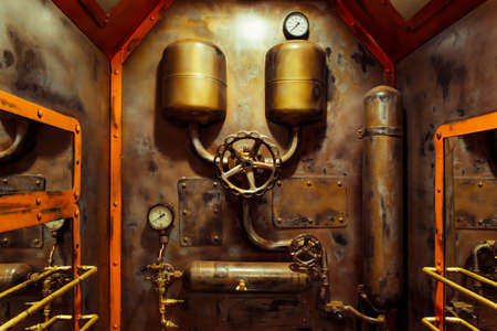 The room in vintage steampunk style with steam pipes and pressure gauge Stockfoto