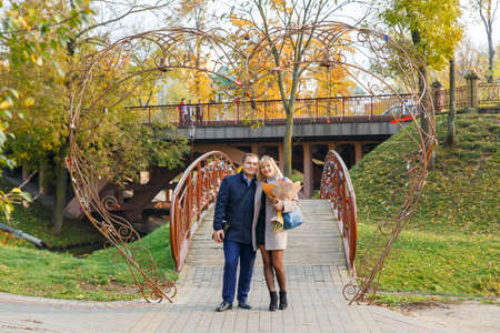 Grodno, Belarus - October 18, 2017: A married couple makes a tour of the city of Grodno, Belarus Editorial