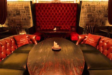 Grodno, Belarus - October 13, 2017: The interior of a vintage luxury bar Faraday