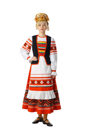 Beautiful smiling girl in Belarusian national costume isolated on white background