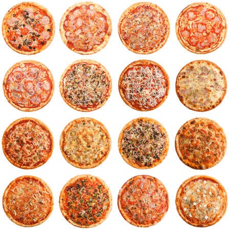 Set of 16 different kind of pizza isolated on white background Imagens