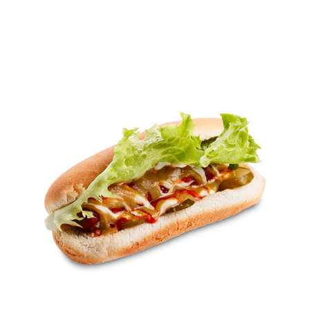 Hot dog with lettuce, ketchup and musturd. Sausage & bun