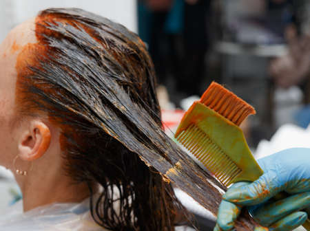 Hairdresser salon. Hair colouring in process. Woman dyeing hairs in dark color. Stock fotó