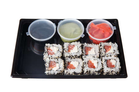 Bento lunchbox Japanese style quick meal isolated on white background Stock fotó