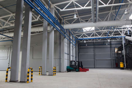 Internal space of the waste sorting plant. Recycling and storage of waste for further disposal.