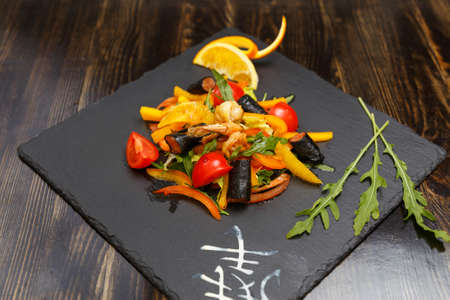 Japanese Cuisine - Seaweed Salad with Conger, pepper, tomato and arugula Banco de Imagens
