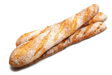 Traditional homemade french bread isolated on a white background Stock fotó