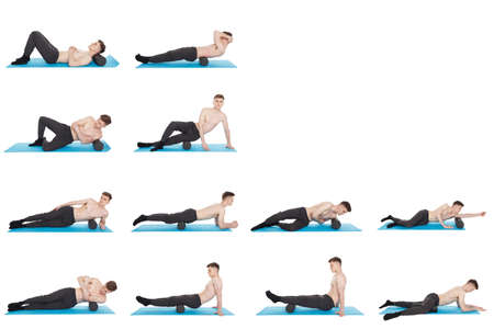 Set of 12 exercises using a foam roller for a myofascial release massage of trigger points. Massage of the posterior thigh muscle. Isolated on white. Stock Photo