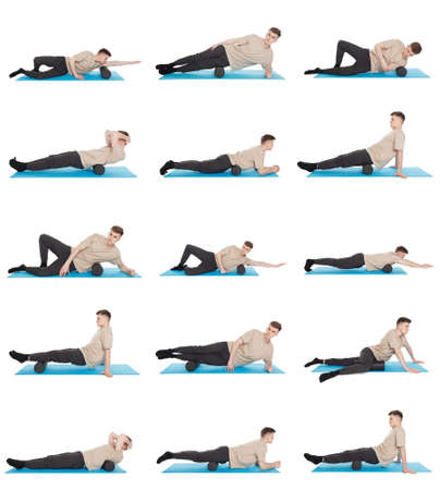 Set of 15 exercises using a foam roller for a myofascial release massage of trigger points. Massage of the posterior thigh muscle. Isolated on white. Foto de archivo