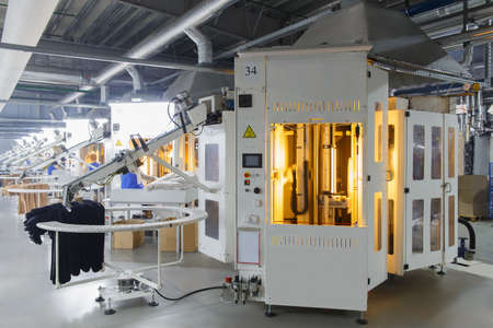 View of the machine for tights quality visual control automation on a factory