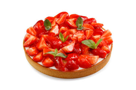 Big tart with strawberry isolated on a white background, close-up