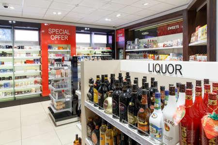 Berestovitsa, Belarus - August 09, 2019: Shelves with alcoholic beverages in the duty free shop Bela Market Duty Free.