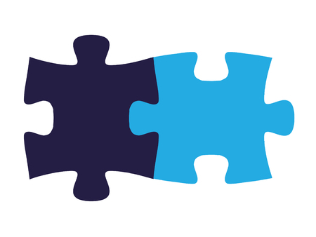 perfect fit: Isolated puzzle pieces, fit together on all sides seamlessly Illustration