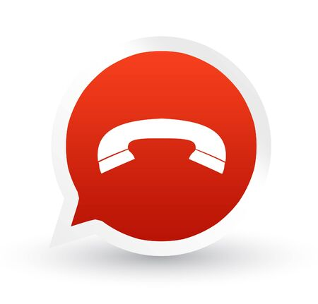 hung: Red icon hung up phone