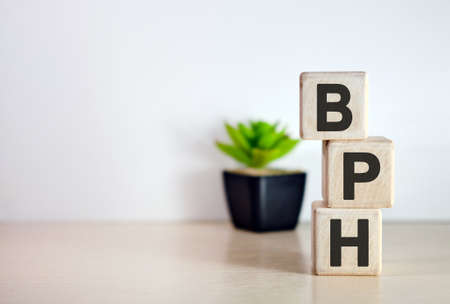 BPH - text on wooden cubes, on wooden background. Flower in a pot Imagens