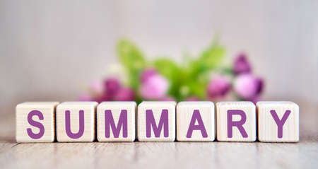 SUMMARY word written on wood cubes. Floral background Imagens