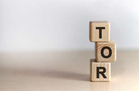 TOR Terms of Reference- text on wooden cubes, on white background Foto de archivo