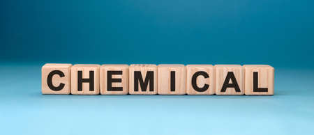 CHEMICAL word cube on a blue background. Medical concept.