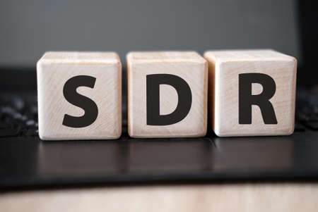 SDR Serpstat Domain Rank - concept on wooden cubes on a black keyboard