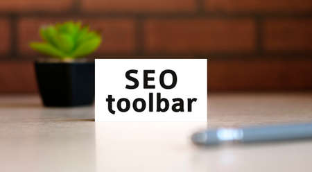 Seo toolbar text of business concept on white list and with pen and a black pot with a flower behind